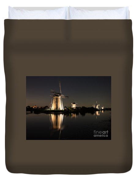 Windmills Illuminated At Night Duvet Cover