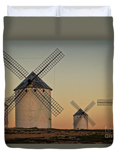Duvet Cover featuring the photograph Windmills In Golden Light by Heiko Koehrer-Wagner