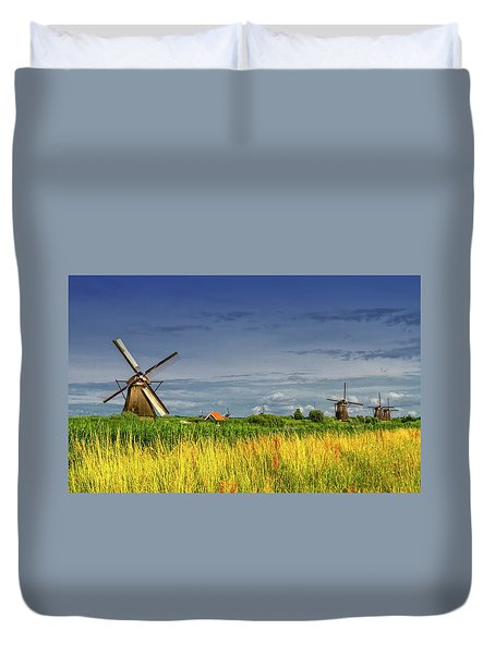 Windmills In Kinderdijk, Holland, Netherlands Duvet Cover