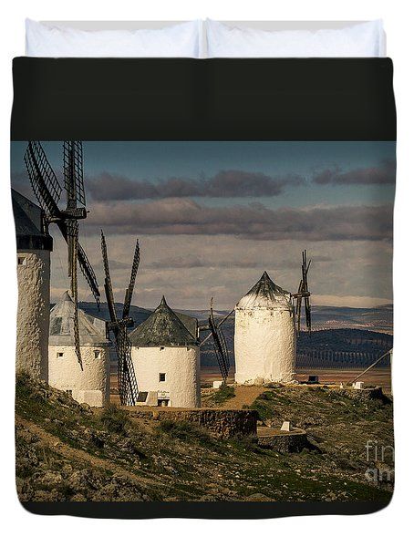 Duvet Cover featuring the photograph Windmills Of La Mancha by Heiko Koehrer-Wagner