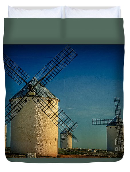 Duvet Cover featuring the photograph Windmills Under Blue Sky by Heiko Koehrer-Wagner