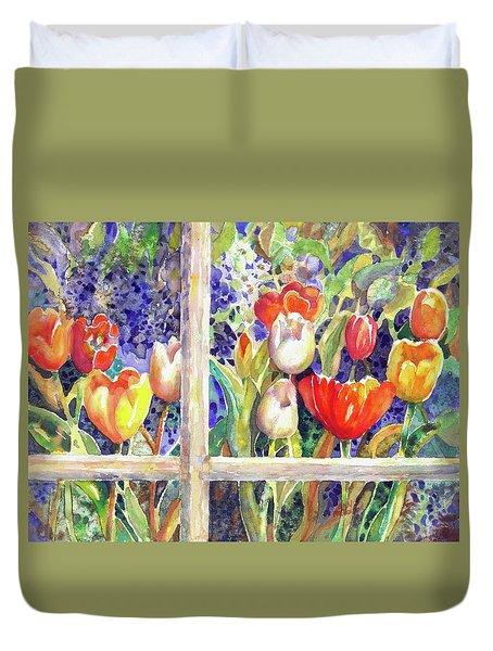 Window Box Tulips Duvet Cover