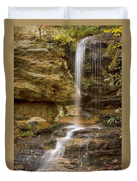 Duvet Cover featuring the photograph Window Falls In Hanging Rock State Park by Bob Decker