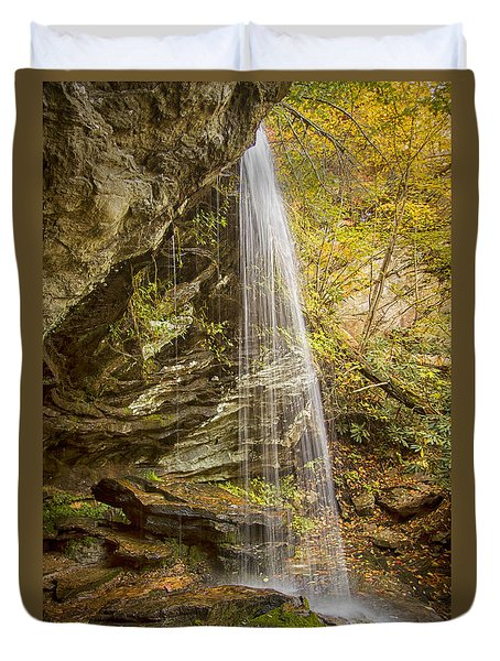 Duvet Cover featuring the photograph Window Falls In The Autumn by Bob Decker