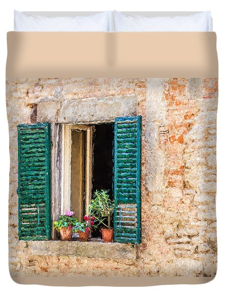 Window Flowers Of Tuscany Duvet Cover