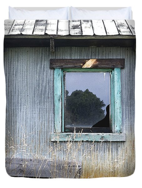 Window Framed In Aqua Duvet Cover by Glennis Siverson