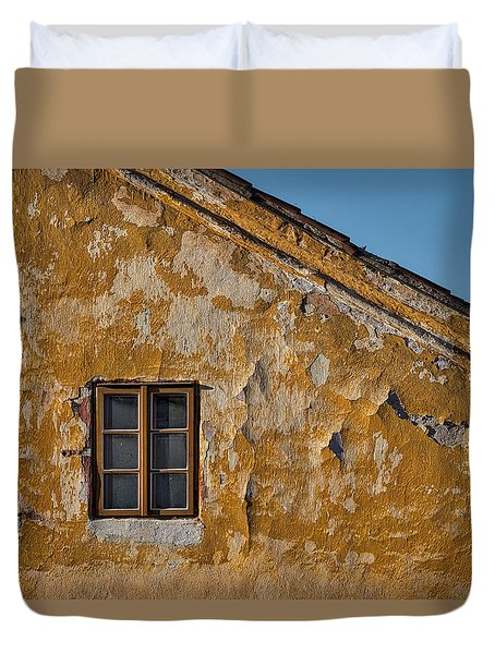 Duvet Cover featuring the photograph Window In A Weathered Czech Wall by Stuart Litoff