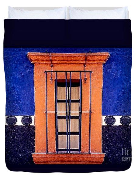 Window In San Miguel De Allende Duvet Cover by Linda  Parker