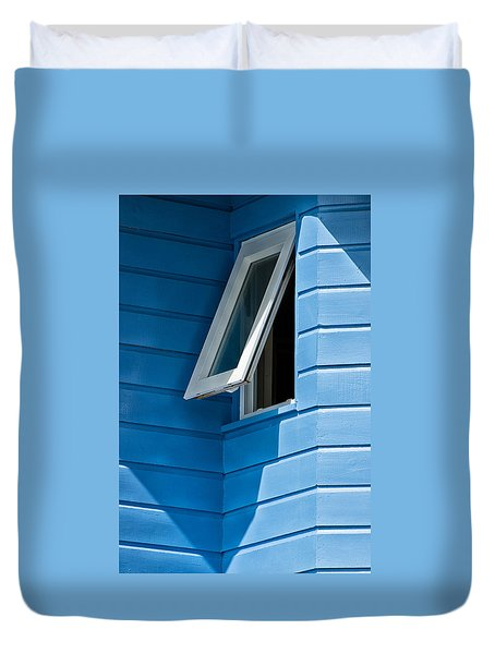 Duvet Cover featuring the photograph Window In The Corner In St Lucia by Gary Slawsky