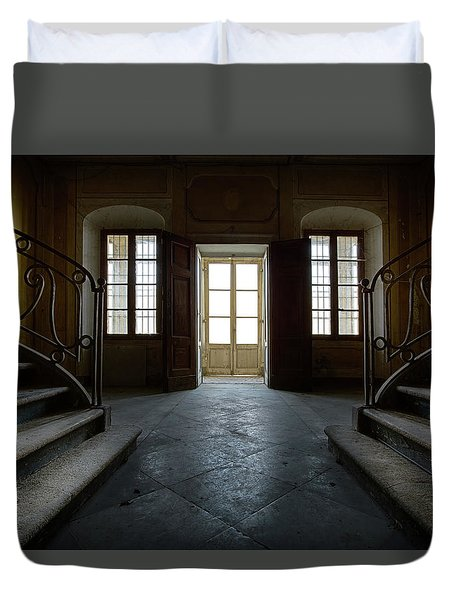 Duvet Cover featuring the photograph Window Light On Dark Stairs by Dirk Ercken