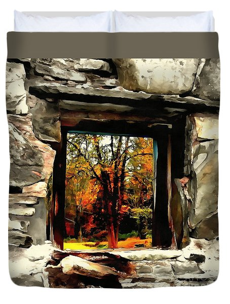 Duvet Cover featuring the photograph Window Of Hope - Stone Wall Window View by Janine Riley