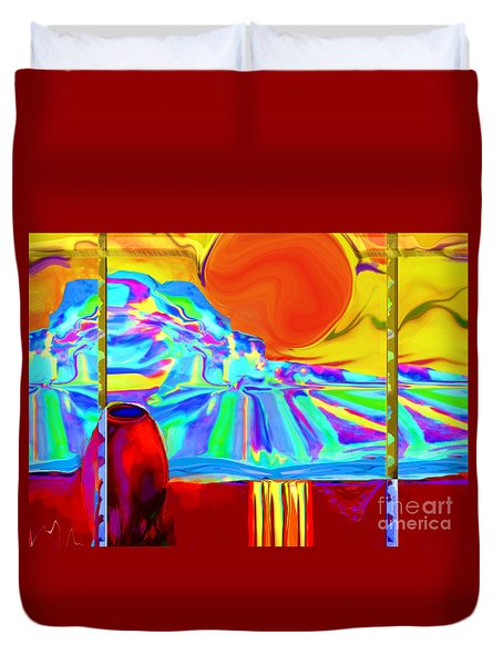 Window On Santa Fe No.4 Duvet Cover