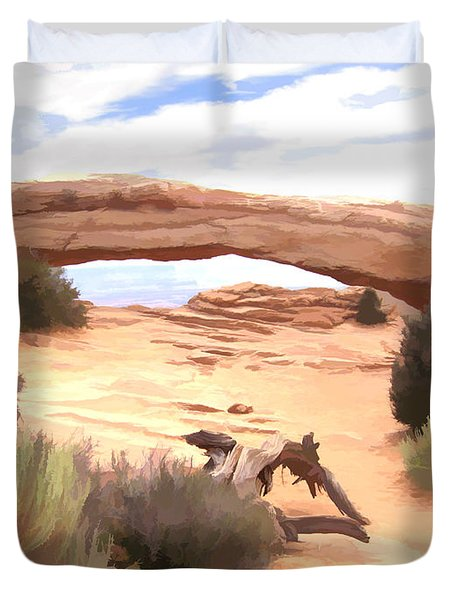Duvet Cover featuring the digital art Window On The Valley by Gary Baird