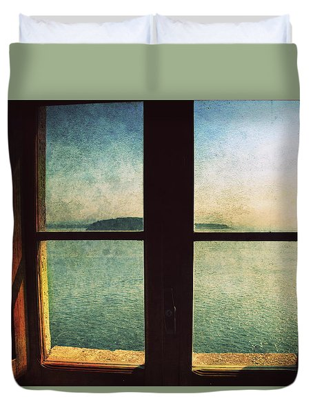 Window Overlooking The Sea Duvet Cover