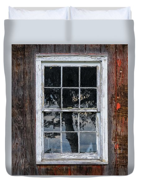 Duvet Cover featuring the photograph Window Reflection by Tom Singleton