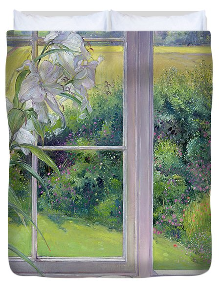 Window Seat And Lily Duvet Cover
