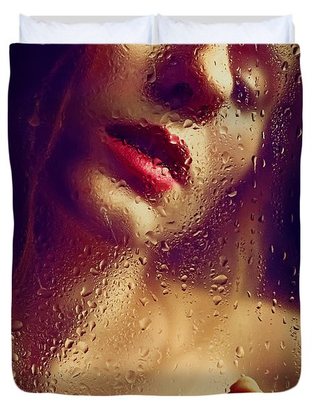 Window -  Sensual Woman Portrait Behind A Rainy Window Duvet Cover