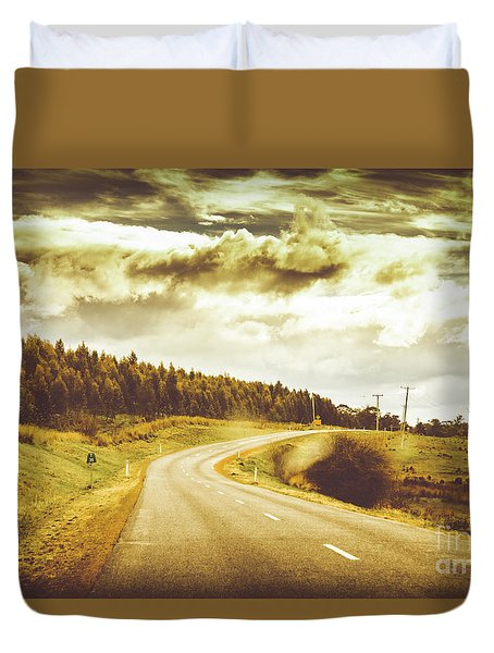 Window To A Rural Road Duvet Cover