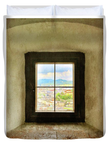 Duvet Cover featuring the photograph Window To Salzburg by Brooke T Ryan