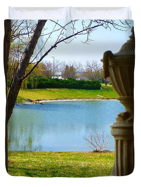 Window View Pond Duvet Cover