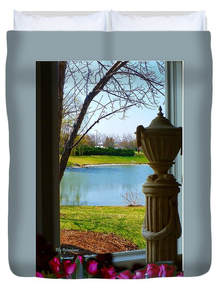 Window View Pond Duvet Cover