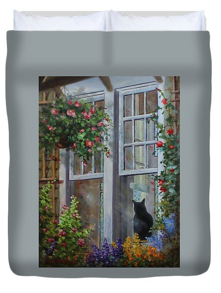 Window Watcher Duvet Cover