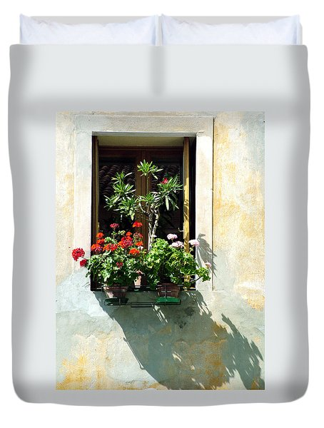 Duvet Cover featuring the photograph Window With A Tree by Donna Corless