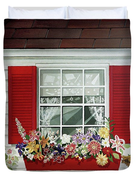 Windowbox With Cat Duvet Cover by Bonnie Siracusa