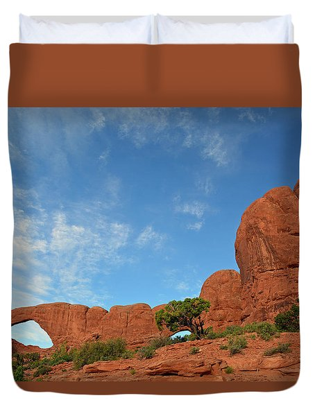 Duvet Cover featuring the photograph Windows Arches With Wispy Clouds by Bruce Gourley