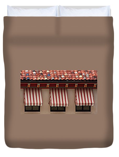 Duvet Cover featuring the photograph Windows - Awnings - Tiles by Nikolyn McDonald