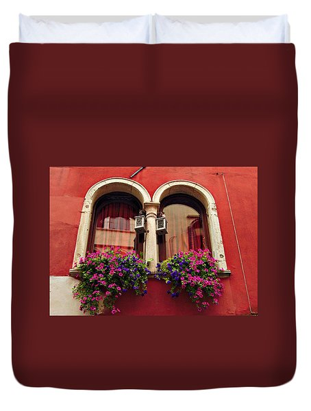 Windows In Venice Duvet Cover by Tamara Sushko