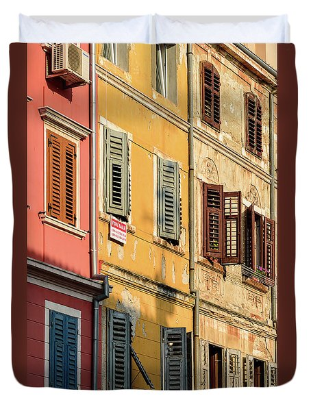 Windows Of Rovinj, Istria, Croatia Duvet Cover