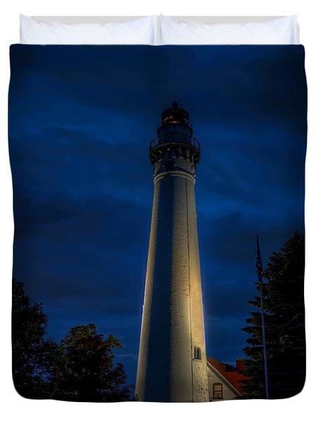 Windpoint Lighthouse After Dark Duvet Cover