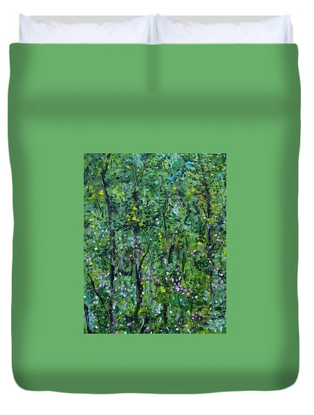 Duvet Cover featuring the painting Windsor Way Woods by Judith Rhue