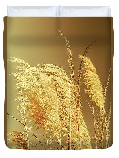Windswept Autumn Brush Grass Duvet Cover