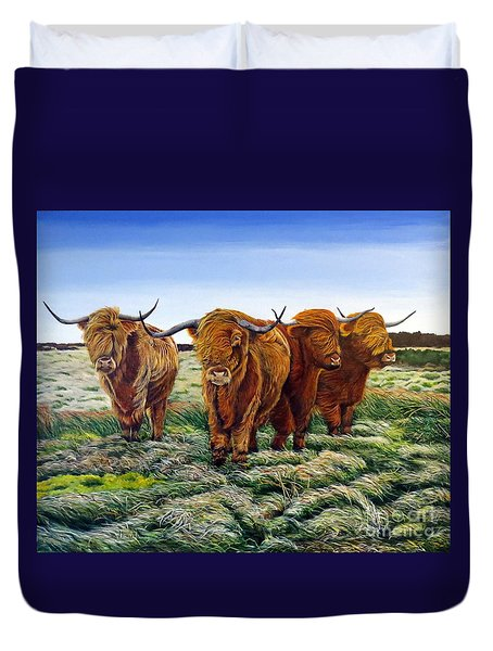 Windswept Highland Cattle  Duvet Cover