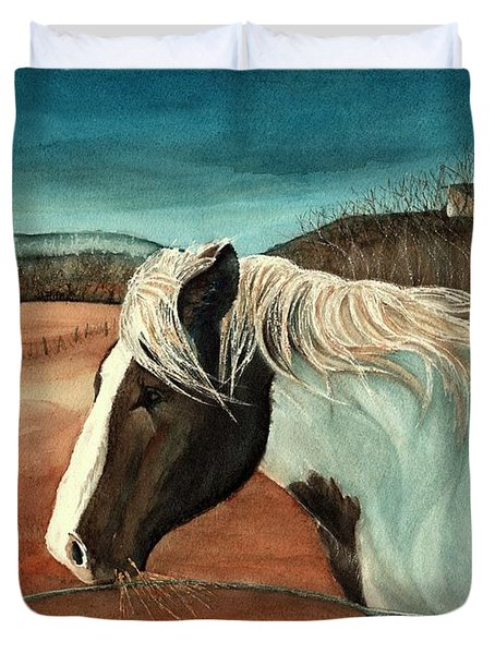 Duvet Cover featuring the painting Windswept - Paint Horse - Shawangunk by Janine Riley