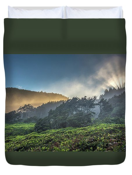 Windswept Trees On The Oregon Coast Duvet Cover