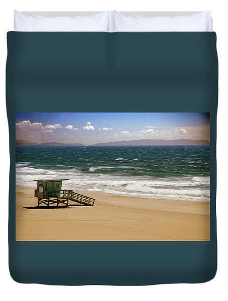 Duvet Cover featuring the photograph Windy Beach Day by Joseph Hollingsworth