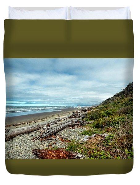 Windy Beach In Oregon Duvet Cover