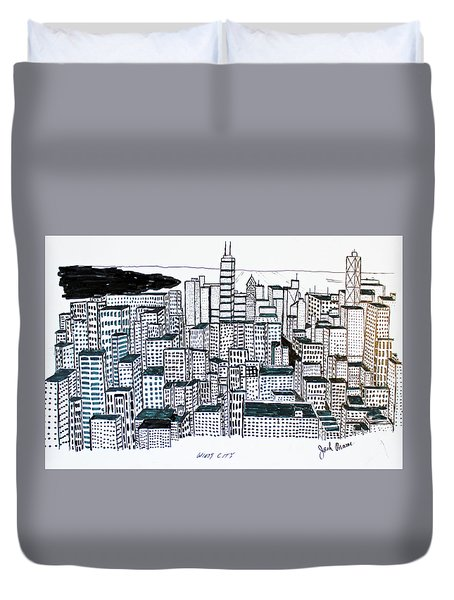 Duvet Cover featuring the drawing Windy City by Jack G  Brauer