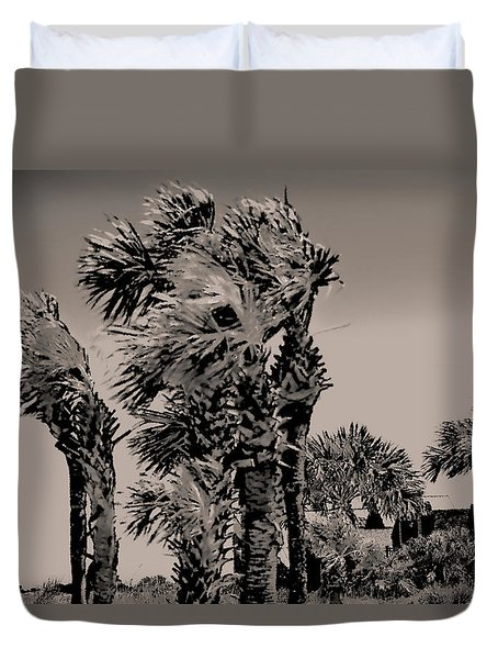 Windy Day At Beach Duvet Cover