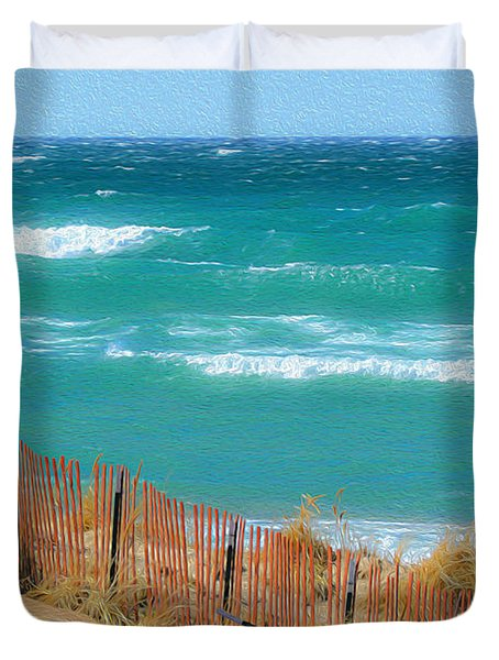 Windy Day On Lake Michigan Duvet Cover