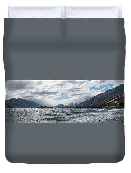 Duvet Cover featuring the photograph Windy Day On Lake Wakatipu by Gary Eason