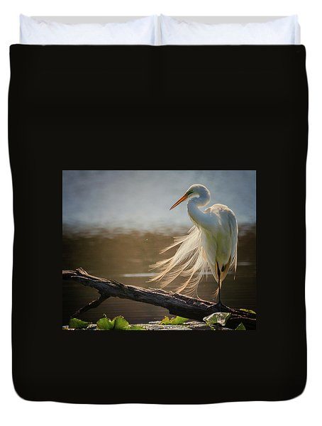 Windy Egret  Duvet Cover
