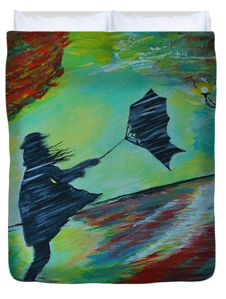 Duvet Cover featuring the painting Windy Escapade by Leslie Allen