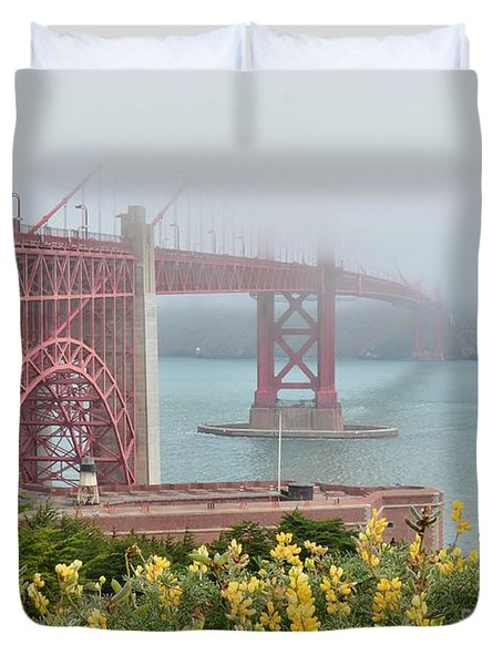 Windy Foggy Golden Gate Bridge  Duvet Cover by Debby Pueschel