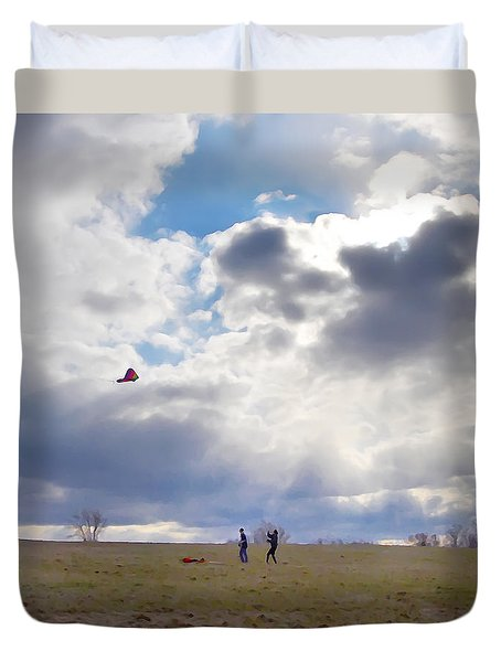 Windy Kite Day Duvet Cover by Bill Cannon