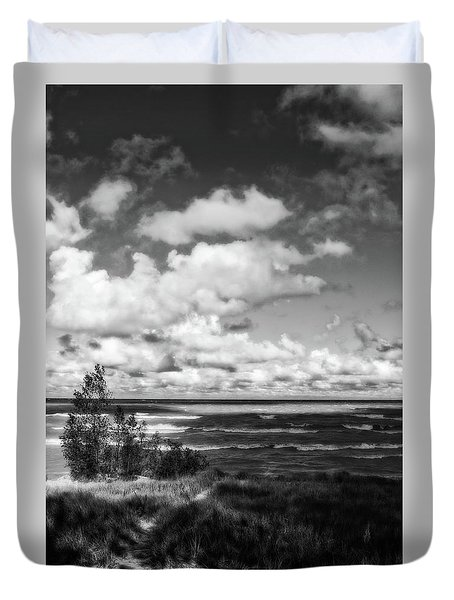 Duvet Cover featuring the photograph Windy Morning On Lake Michigan by Michelle Calkins
