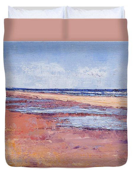 Windy October Beach Duvet Cover